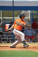 Baltimore Orioles Juan Escarra (46) at bat during an Instructional League game against the New York Yankees on September 23, 2017 at the Yankees Minor League Complex in Tampa, Florida.  (Mike Janes/Four Seam Images)