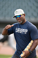 Hitting coach Ender Chavez (4) of the Columbia Fireflies during batting practice before a game against the Charleston RiverDogs on Wednesday, August 29, 2018, at Spirit Communications Park in Columbia, South Carolina. Charleston won, 6-1. (Tom Priddy/Four Seam Images)