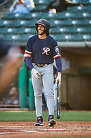 Dillon Thomas (20) of the Tacoma Rainiers at bat against the Salt Lake Bees at Smith's Ballpark on May 13, 2021 in Salt Lake City, Utah. The Rainiers defeated the Bees 15-5. (Stephen Smith/Four Seam Images)