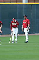 Dave Duncan (L), Mike Harkey (R) of the Arizona Diamondbacks participates in the first day of spring training workouts at Salt River Fields on February 7, 2014 in Scottsdale, Arizona (Bill Mitchell)