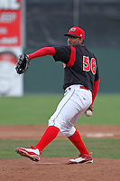 Batavia Muckdogs picher Jose Rada (56) during a game vs. the Jamestown Jammers at Dwyer Stadium in Batavia, New York July 18, 2010.   Batavia defeated Jamestown 6-1.  Photo By Mike Janes/Four Seam Images