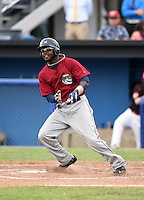 Mahoning Valley Scrappers outfielder D'vone McClure (1) at bat during a game against the Batavia Muckdogs on June 22, 2015 at Dwyer Stadium in Batavia, New York.  Mahoning Valley defeated Batavia 15-11.  (Mike Janes/Four Seam Images)