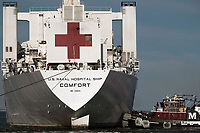 NORFOLK (May 2, 2020) The hospital ship USNS Comfort (T-AH 20) returns to its homeport of Naval Station Norfolk after treating patients in New York and New Jersey in support of the COVID-19 pandemic. Comfort and its embarked medical task force remain prepared for future tasking. The Navy, along with other U.S. Northern Command dedicated forces, remains engaged throughout the nation in support of the broader COVID-19 response.