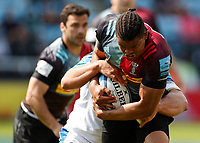 29th May 2021; Twickenham Stoop, London, England; English Premiership Rugby, Harlequins versus Bath; Earle of Harlequins driving through a tackle