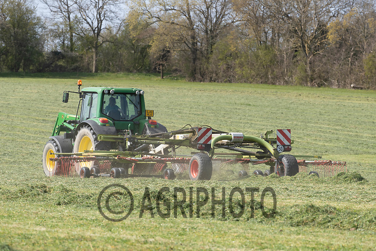21-4-2021 Turning grass silage <br /> ©Tim Scrivener Photographer 07850 303986<br />      ....Covering Agriculture In The UK....