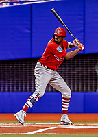 26 March 2018: St. Louis Cardinals outfielder Dexter Fowler leads off an exhibition game against the Toronto Blue Jays at Olympic Stadium in Montreal, Quebec, Canada. The Cardinals defeated the Blue Jays 5-3 in the first of two MLB pre-season games in the former home of the Montreal Expos. Mandatory Credit: Ed Wolfstein Photo *** RAW (NEF) Image File Available ***
