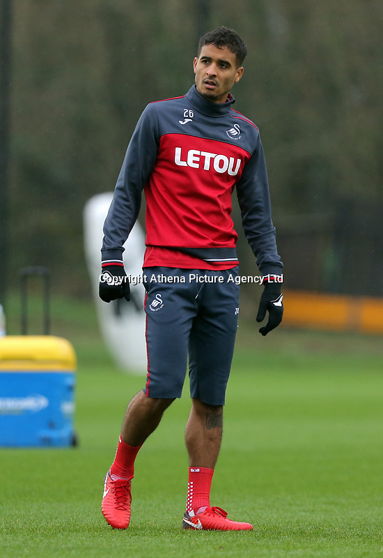 Kyle Naughton in action during the Swansea City Training at The Fairwood Training Ground, Swansea, Wales, UK. Wednesday 22 November 2017