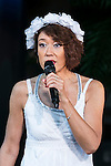 TV personality and film critic Lilico speaks during the presentation of the Swedish boy band ''JTR'' as a part of the Special Summer Live 2015 events in IKSPIARI shopping mall at Tokyo Disney Resort on August 25, Tokyo, Japan. JTR have been in Japan since August 19th promoting their new album ''Oh My My'' which goes on sale from August 26. (Photo by Rodrigo Reyes Marin/AFLO)
