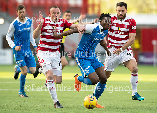Hamilton Accies v St Johnstone…08.05.18…  New Douglas Park    SPFL<br />Matty Willock is tackled by Darion MacKinnon and Ross Jenkins<br />Picture by Graeme Hart. <br />Copyright Perthshire Picture Agency<br />Tel: 01738 623350  Mobile: 07990 594431