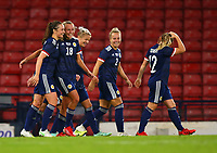 21st September 2021; Hampden Park, Glasgow, Scotland: FIFA Womens World Cup qualifying, Scotland versus Faroe Islands; Claire Emslie of Scotland celebrates after she puts Scotland into an 7-1 lead in the 84th minute with a free kick