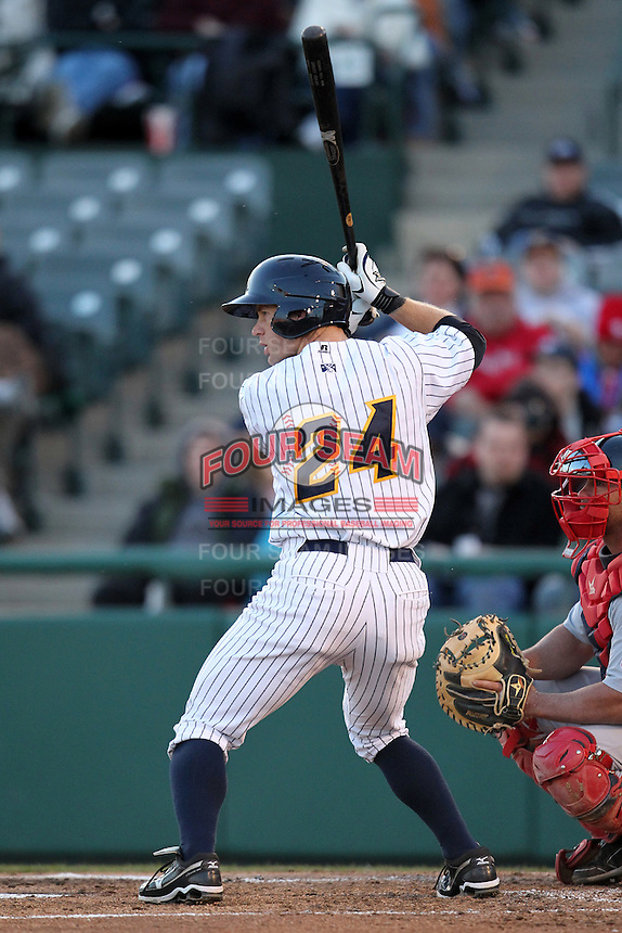 Trenton Thunder second baseman David Adams #24 during a game against the Portland SeaDogs at Waterfront Park on April 9, 2012 in Trenton, New Jersey.  Trenton defeated Portland 8-3.  (Mike Janes/Four Seam Images)