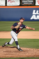 Maxwell Gibbs #43 of the Cal State Fullerton Titans pitches against the Stanford Cardinal at Goodwin Field on February 19, 2017 in Fullerton, California. Stanford defeated Cal State Fullerton, 8-7. (Larry Goren/Four Seam Images)