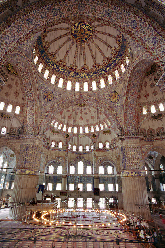 Interior of The Blue Mosque (Sultanahmet Camii) which was completed in 1616 & has 6 Minarets and 260 windows - Istanbul, Turkey