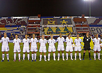 Action photo of USA team at the 2010 CONCACAF Women's World Cup Qualifying tournament held at Estadio Quintana Roo in Cancun, Mexico.