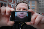 """Mike Daisey is an American monologist. For his one man show   """"The Agony and the Ecstasy of Steve Jobs'  he went to China to interview Apple workers by standing outside the factory wearing a Hawiian shirt."""