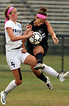 Freehold Twp.'s # 10 (left) Jessica Judge collides with Bridgewater-Raritan's # 35 (right) Allsion Lowery as Freehold Township takes on Bridgewater-Raritan in a girls varsity soccer game held at Freehold Township High School on Friday October 6, 2017.<br /> <br /> (Mark R. Sullivan | For NJ Advance Media)