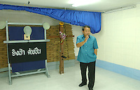 Pittaya Sangkankin, Director of  Thailand's  Bangkwang Central Prison shows the execution chamber.  The  condemmed men are strapped to the wooden execution cross at the back of the room.