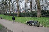 Rough sleeper, Green Park, London.
