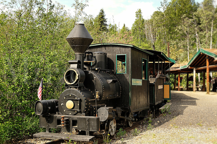 Steam train carries tourists to the Eldorado gold mine, Fairbanks, Alaska