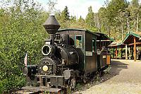 Steam train carries tourists to the Eldorado gold mine, Fairbanks, Alaska