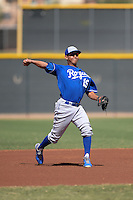 Kansas City Royals third baseman Mauricio Ramos (19) during an Instructional League game against the Cleveland Indians on October 9, 2013 at Surprise Stadium Training Complex in Surprise, Arizona.  (Mike Janes/Four Seam Images)