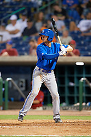 Dunedin Blue Jays third baseman John La Prise (19) at bat during a game against the Clearwater Threshers on April 6, 2018 at Spectrum Field in Clearwater, Florida.  Clearwater defeated Dunedin 8-0.  (Mike Janes/Four Seam Images)