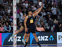 NZ Men goalshoot Junior Levi takes a pass during the Cadbury Netball Series match between NZ Silver Ferns and NZ Men at the Fly Palmy Arena in Palmerston North, New Zealand on Thursday, 22 October 2020. Photo: Dave Lintott / lintottphoto.co.nz