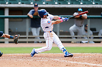 Tennessee Smokies third baseman Levi Jordan (5) at bat against the Montgomery Biscuits on May 9, 2021, at Smokies Stadium in Kodak, Tennessee. (Danny Parker/Four Seam Images)