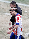 Atletico de Madrid's coach Diego Pablo Cholo Simeone with Koke Resurrecccion injured during La Liga match.February 7,2015. (ALTERPHOTOS/Acero)