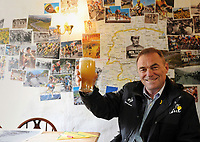 Picture by Simon Wilkinson/SWpix.com 26/03/2014 Yorkshire Grand Depart 100 days to go - Cragg Vale Stage 2 - Tour de France Legend Bernard Hinault guest of local cyclists  - copyright picture - Simon Wilkinson - simon@swpix.com -<br /> <br /> Bernard Hinault enjoys a pint in The Robin Hood pub COPYRIGHT WARNING : THIS IMAGE IS RIGHTS MANAGED AND THE COPYRIGHT MAY SIT WITH A THIRD PARTY PLEASE CONTACT simon@swpix.com BEFORE DOWNLOAD AND OR USE