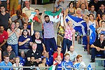 Supports cheer as Wales' Calum Jarvis competes in the men's 200m freestyle final where he won a bronze medal<br /> <br /> Photographer Chris Vaughan/Sportingwales<br /> <br /> 20th Commonwealth Games - Day 2 - Friday 25th July 2014 - Swimming - Tollcross International Swimming Centre - Glasgow - UK