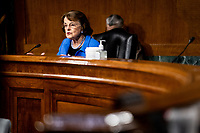 "United States Senator Dianne Feinstein (Democrat of California), Ranking Member, US Senate Judiciary Committee speaks at a US Senate Judiciary Committee Hearing ""to examine COVID-19 fraud, focusing on law enforcement's response to those exploiting the pandemic"" on Capitol Hill in Washington, DC on June 9, 2020. <br /> Credit: Erin Schaff / Pool via CNP/AdMedia"