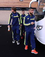Wednesday 18 September 2013<br /> Pictured: Michu, Alvaro Vazquez and Jordi Mata boarding the team coach in Swansea. <br /> Re: Swansea City FC players and staff travelling to Spain for their UEFA Europa League game against Valencia.