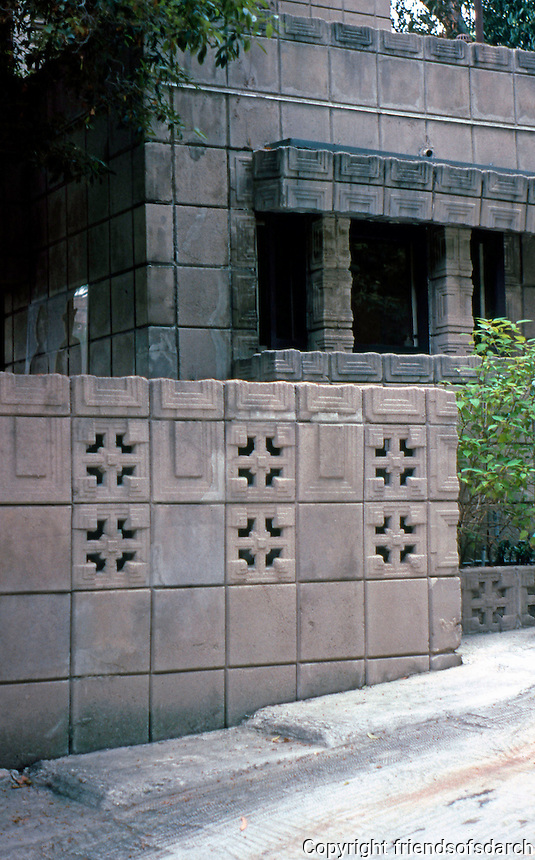F.L. Wright: Storer House, 1923. Detail of driveway.  Photo '82.