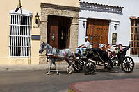 Cartagena, Colombia.  Tourists on a Carriage Ride through Cartagena.
