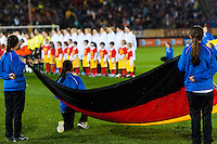 Germany (GER) during the playing of the German national anthem. The United States (USA) and Germany (GER) played to a 2-2 tie during an international friendly at Rentschler Field in East Hartford, CT, on October 23, 2012.