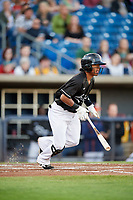 Quad Cities River Bandits second baseman Rodrigo Ayarza (6) follows through on a swing during a game against the Lake County Captains on May 6, 2017 at Modern Woodmen Park in Davenport, Iowa.  Lake County defeated Quad Cities 13-3.  (Mike Janes/Four Seam Images)