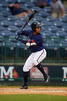 Mississippi Braves Ray-Patrick Didder (13) at bat during a Southern League game against the Jacksonville Jumbo Shrimp on May 4, 2019 at Trustmark Park in Pearl, Mississippi.  Mississippi defeated Jacksonville 2-0.  (Mike Janes/Four Seam Images)