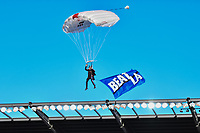 SAN JOSE, CA - JUNE 26: Sky Diver before a game between Los Angeles Galaxy and San Jose Earthquakes at PayPal Park on June 26, 2021 in San Jose, California.