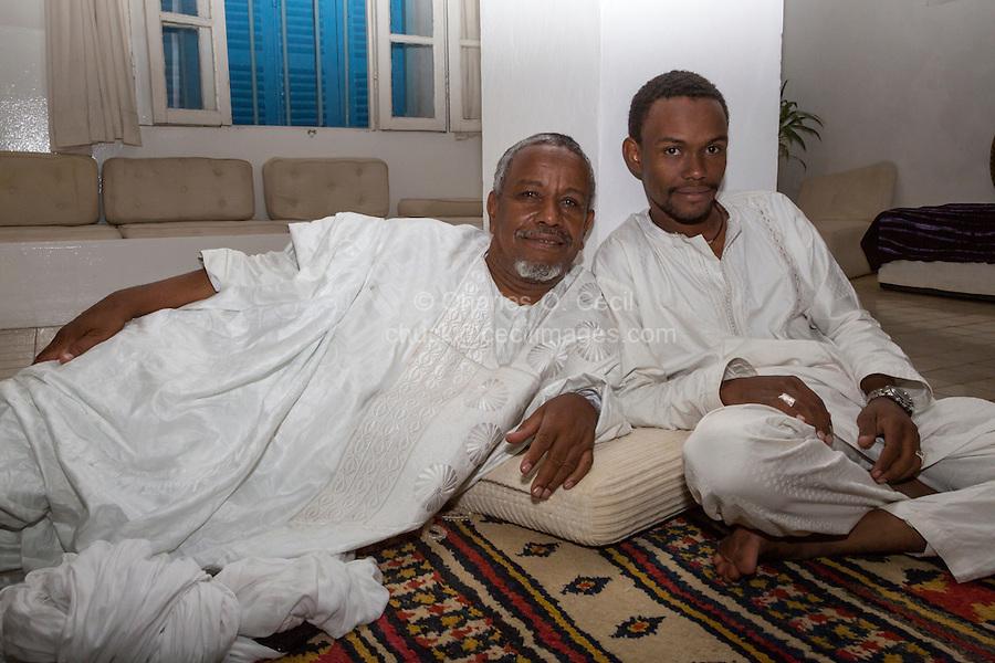 Nigerien Tuareg Silversmith Adam Zidia and Son Ikeni, from Agadez, Niger.  Biannual Arts Festival, Goree Island, Senegal.