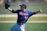 Minnesota Twins pitcher Zach Featherstone (49) during a Minor League Spring Training game against the Tampa Bay Rays on March 17, 2018 at CenturyLink Sports Complex in Fort Myers, Florida.  (Mike Janes/Four Seam Images)