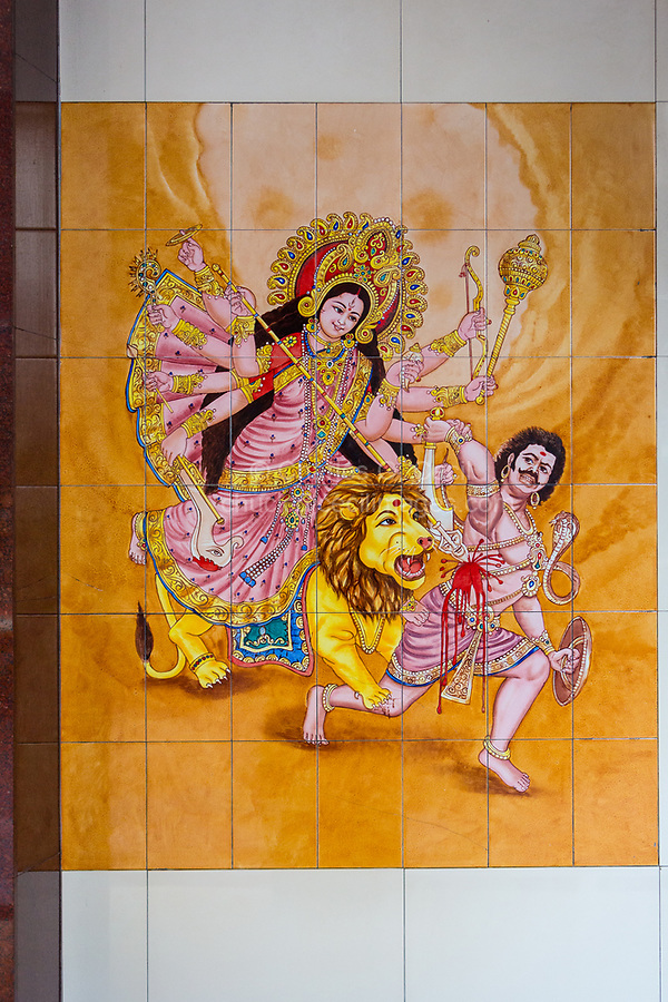 Durga Warrior Goddess in Wall Tile Decoration, Sri Mahamariamman Hindu Temple, Kuala Lumpur, Malaysia.