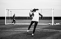 COMMERCE CITY, CO - OCTOBER 25: Kelley O'Hara of the USWNT heads the ball at Dick's Sporting Goods training fields on October 25, 2020 in Commerce City, Colorado.