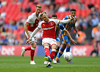 27th May 2018, Wembley Stadium, London, England;  EFL League 1 football, playoff final, Rotherham United versus Shrewsbury Town;  David Ball of Rotherham United takes a penalty in the first but was saved by Goalkeeper Dean Henderson of Shrewsbury Town