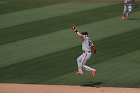 OAKLAND, CA - SEPTEMBER 20:  Evan Longoria #10 of the San Francisco Giants makes a leaping catch against the Oakland Athletics during the game at the Oakland Coliseum on Sunday, September 20, 2020 in Oakland, California. (Photo by Brad Mangin)