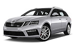 Stock pictures of low aggressive front three quarter view of 2017 Skoda Octavia-Combi RS 5 Door Wagon Low Aggressive