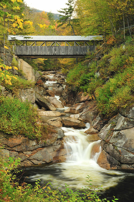 The Sentinel Pine Covered Bridge, also in the Flume Gorge, is said to have originally been built atop a huge white pine which blew over, spanning the headwaters of the Pemigewasset River.