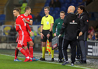 (L-R) Lee Evans of Wales substitutes David Edwards during the international friendly soccer match between Wales and Panama at Cardiff City Stadium, Cardiff, Wales, UK. Tuesday 14 November 2017.