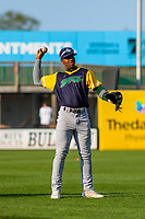 Beloit Snappers outfielder Lazaro Armenteros (8) warms up in the outfield prior to a Midwest League game against the Wisconsin Timber Rattlers on May 17, 2018 at Fox Cities Stadium in Appleton, Wisconsin. Beloit defeated Wisconsin 8-7. (Brad Krause/Four Seam Images)