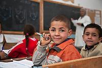 Tunisia dopo la rivoluzione: bambini in classe in una scuola nel villaggio di Thala.<br /> TUNISIA after spring revolution